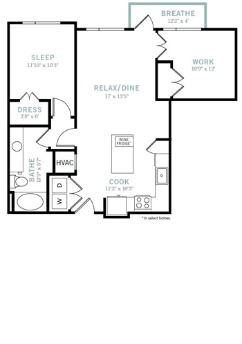 875 sq. ft. A8 floor plan