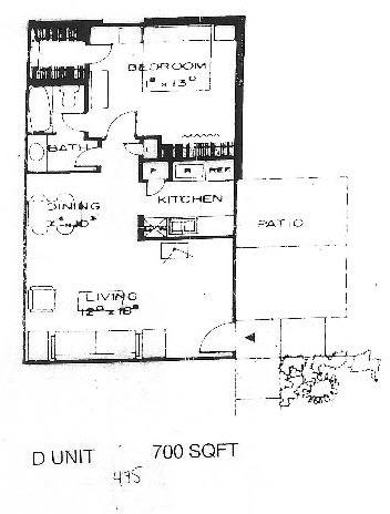 700 sq. ft. D floor plan