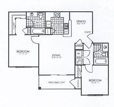 860 sq. ft. floor plan