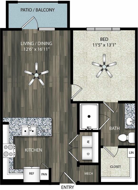 725 sq. ft. A2 floor plan