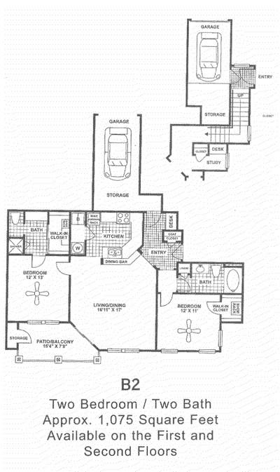 1,075 sq. ft. B2 floor plan
