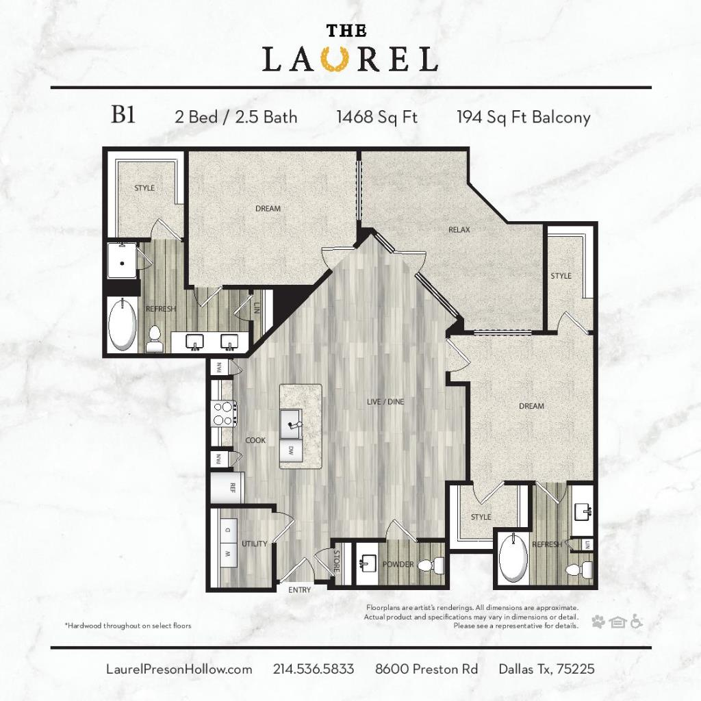 1,468 sq. ft. B1 floor plan