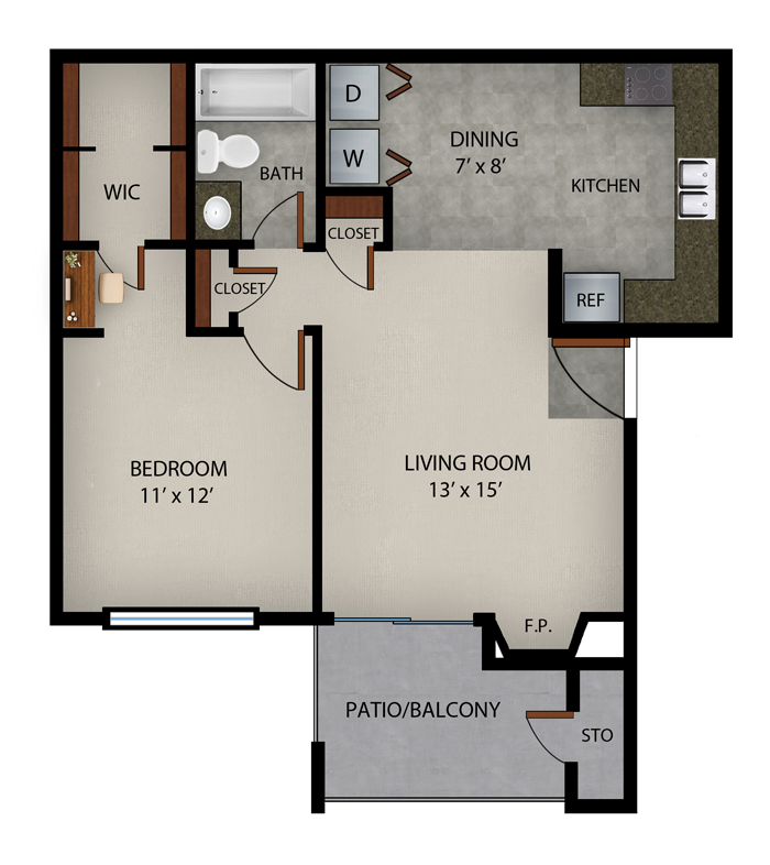652 sq. ft. Xanandu floor plan