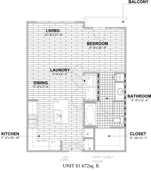 672 sq. ft. S1 floor plan