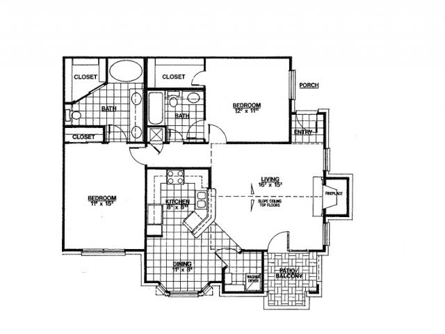 1,123 sq. ft. B2 floor plan