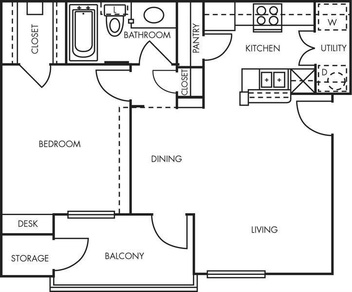665 sq. ft. A1 floor plan