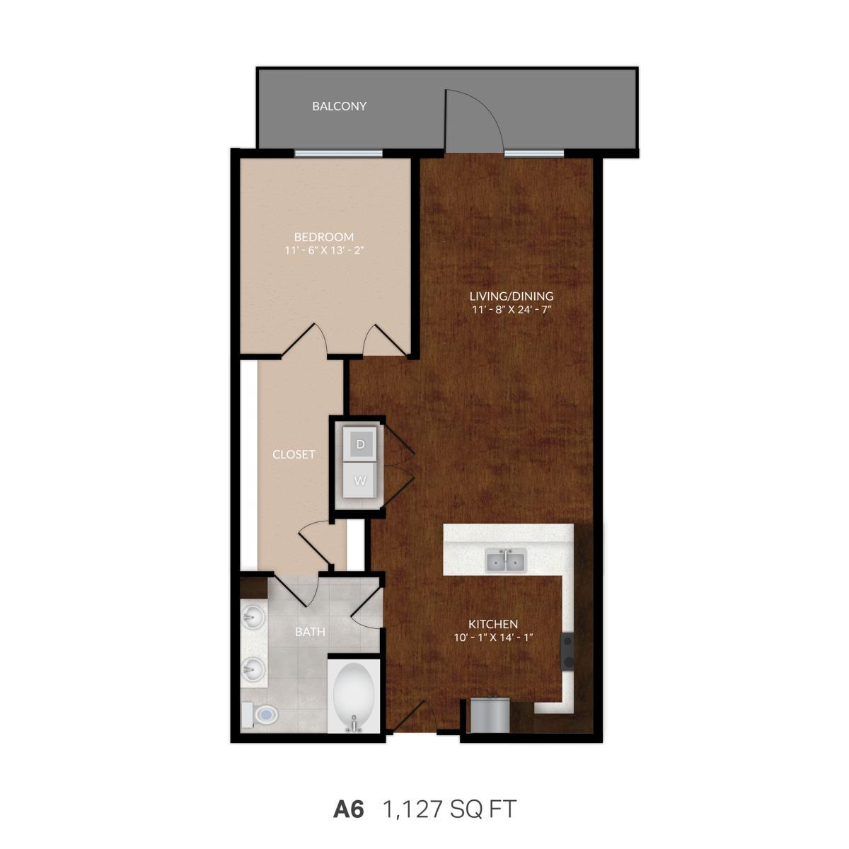 990 sq. ft. A6 floor plan