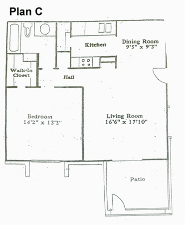 750 sq. ft. C floor plan