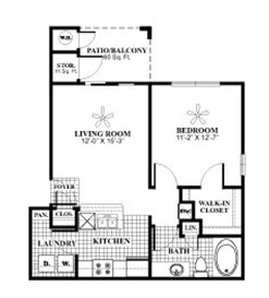 617 sq. ft. A2 floor plan