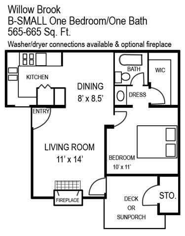 665 sq. ft. B/B1 floor plan