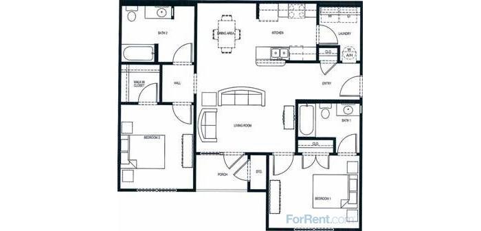 1,174 sq. ft. 60% floor plan