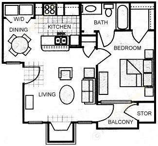 592 sq. ft. A1 floor plan
