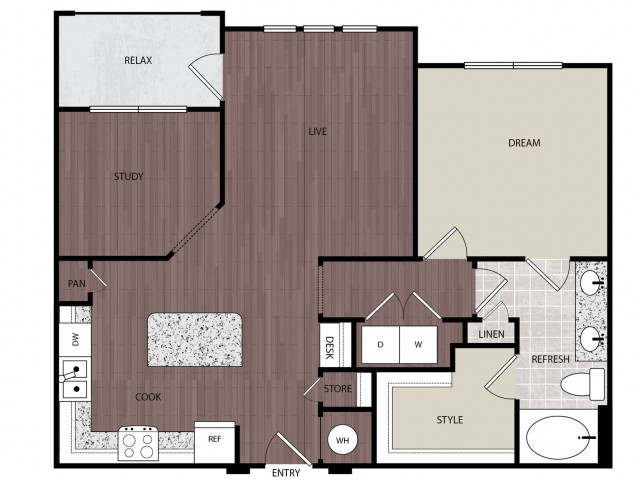 937 sq. ft. A5 floor plan