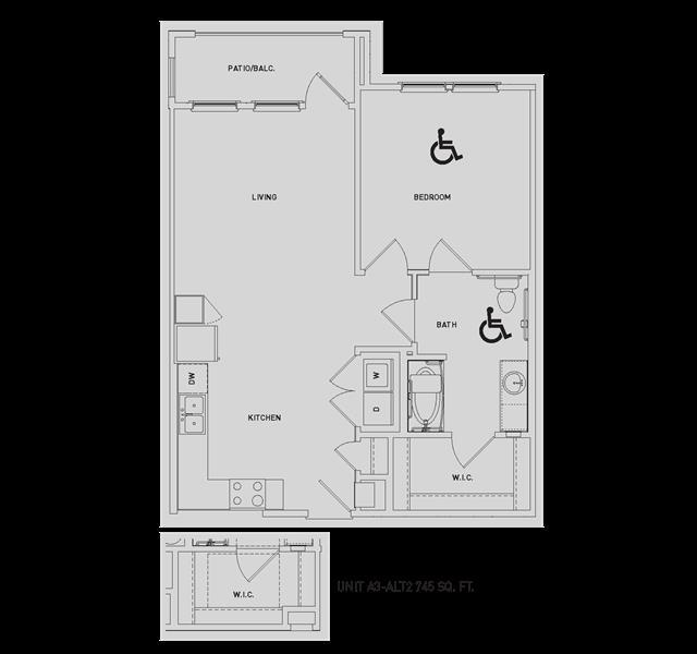 748 sq. ft. A3-Alt/A3-ALT2 floor plan