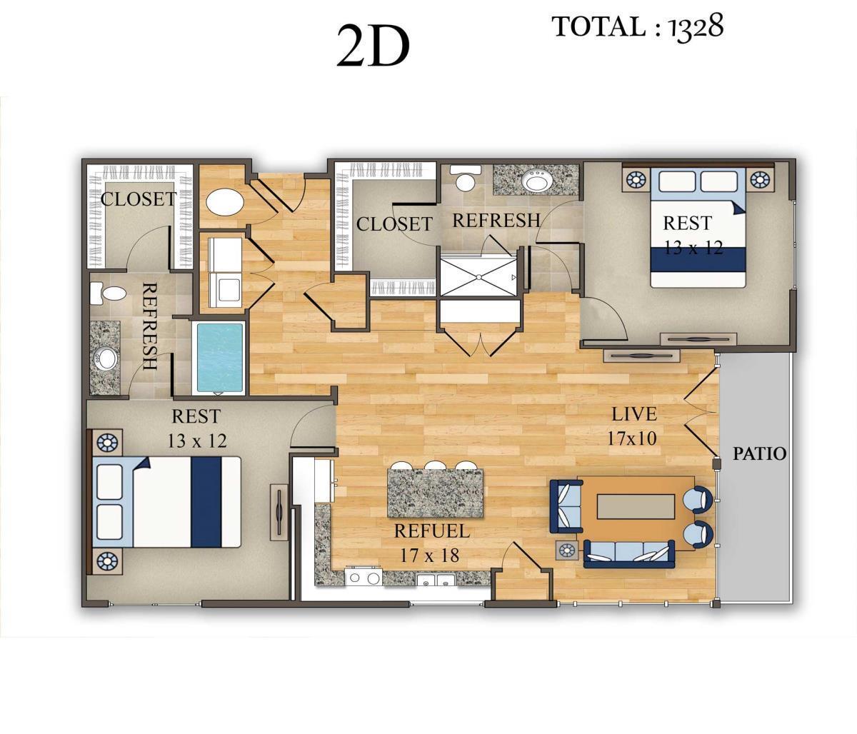 1,328 sq. ft. 2D floor plan