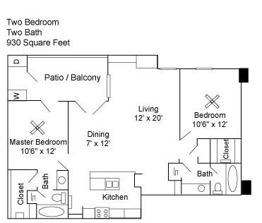 930 sq. ft. B2 floor plan