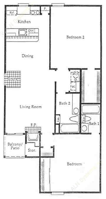 1,065 sq. ft. B3 floor plan