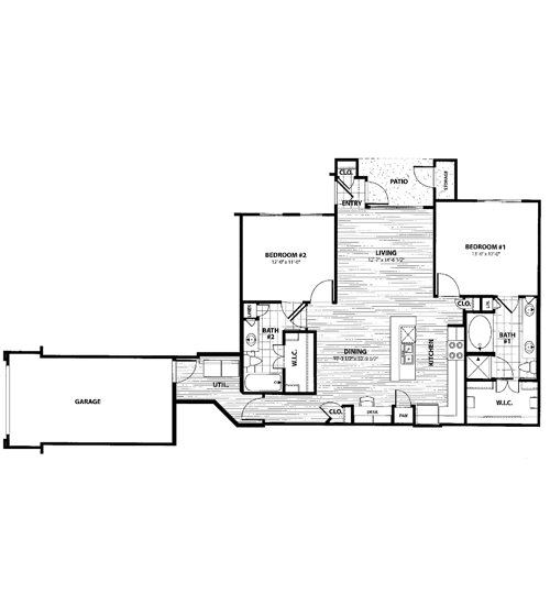 1,194 sq. ft. J1 floor plan