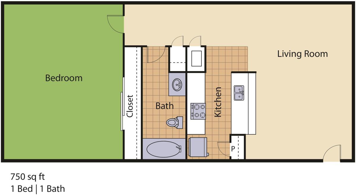 750 sq. ft. Royal I floor plan