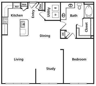 1,074 sq. ft. C1d floor plan