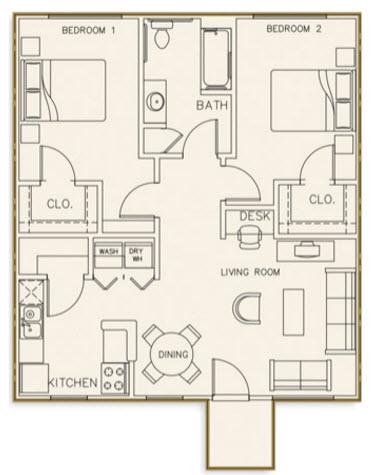 917 sq. ft. 30% floor plan