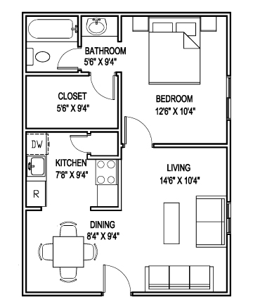 563 sq. ft. B floor plan