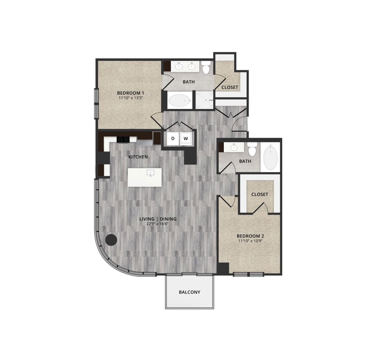 1,449 sq. ft. B3-L7 floor plan