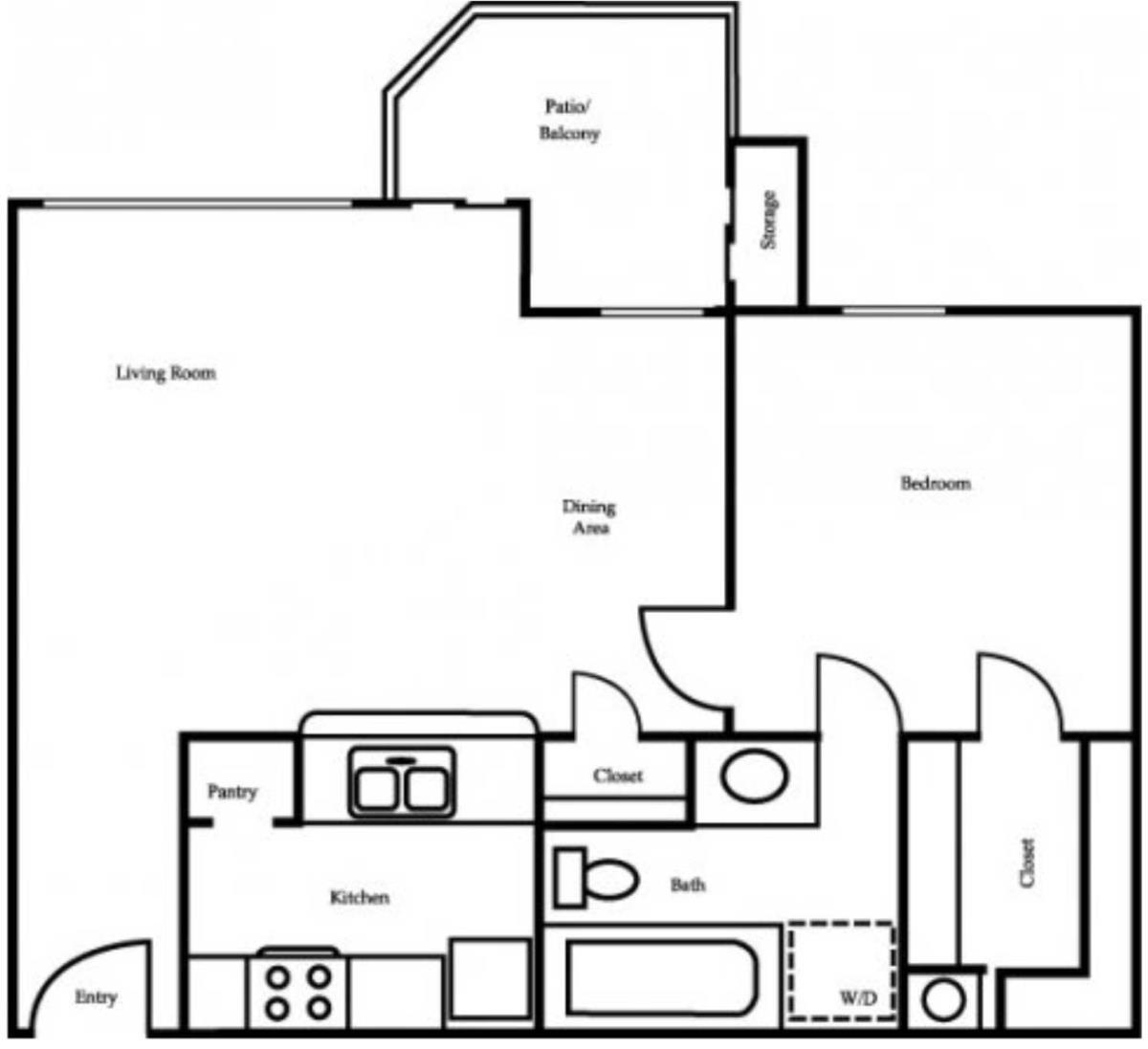 540 sq. ft. A1 floor plan