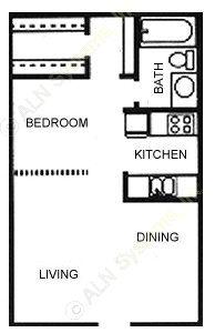 420 sq. ft. S1 floor plan