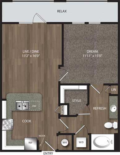 728 sq. ft. A2 Alt floor plan