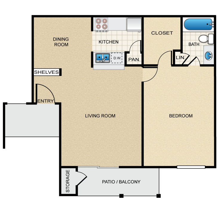653 sq. ft. B floor plan