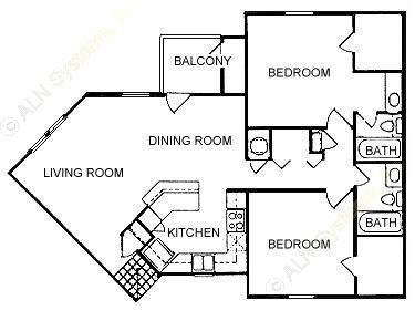 989 sq. ft. D floor plan