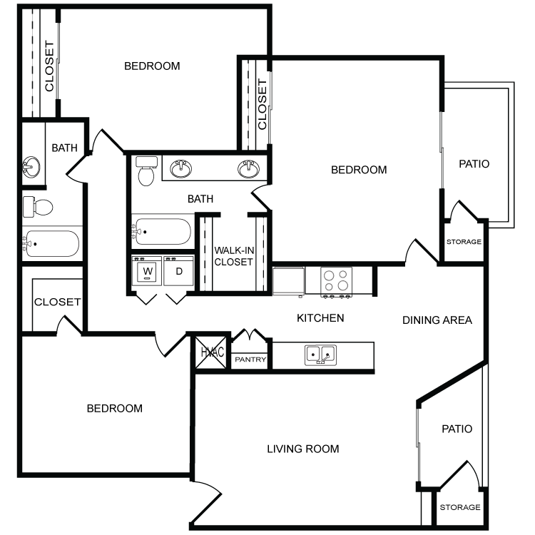 1,250 sq. ft. C1 floor plan