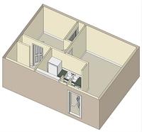 437 sq. ft. 60% floor plan