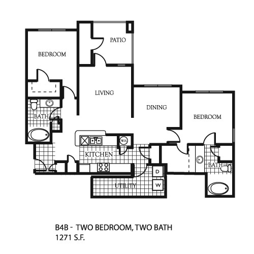 1,271 sq. ft. B6 floor plan