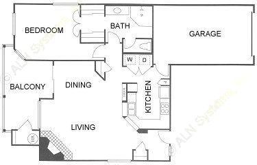 1,009 sq. ft. 1B floor plan