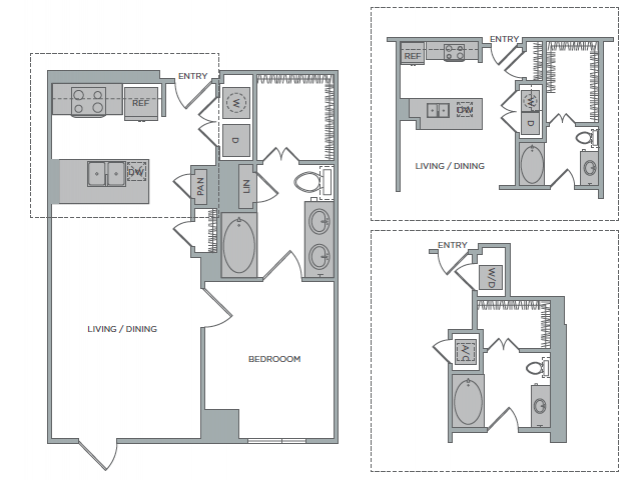 702 sq. ft. 1E floor plan