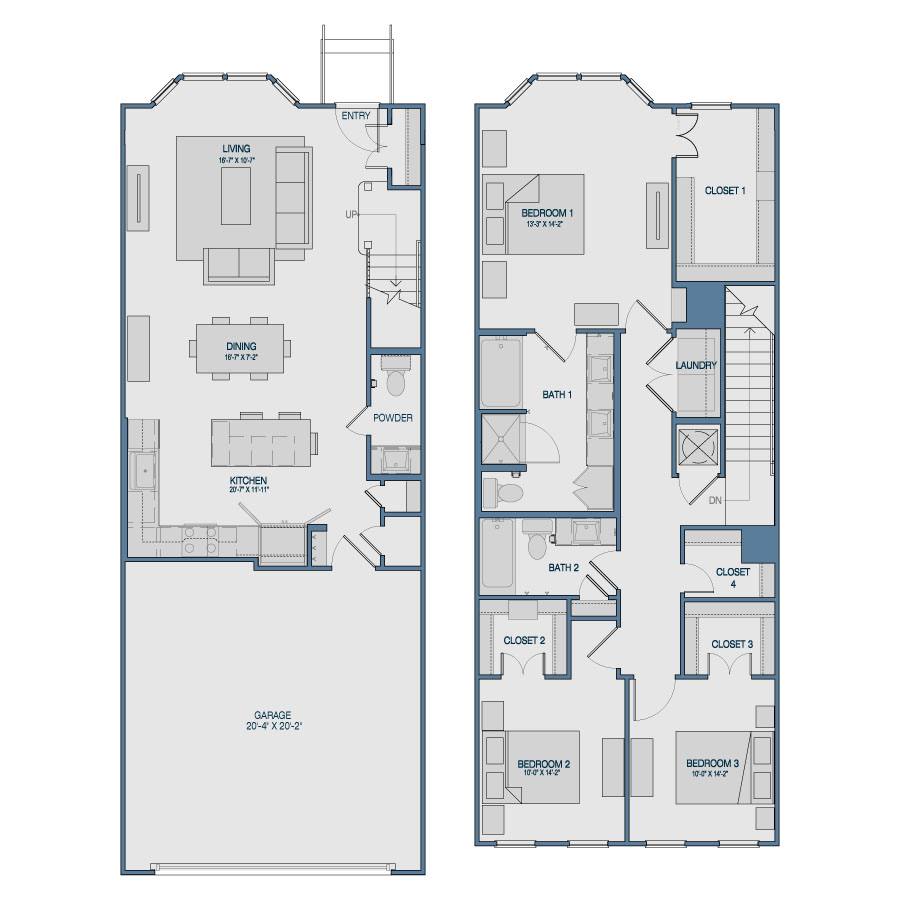 1,762 sq. ft. TH4 floor plan