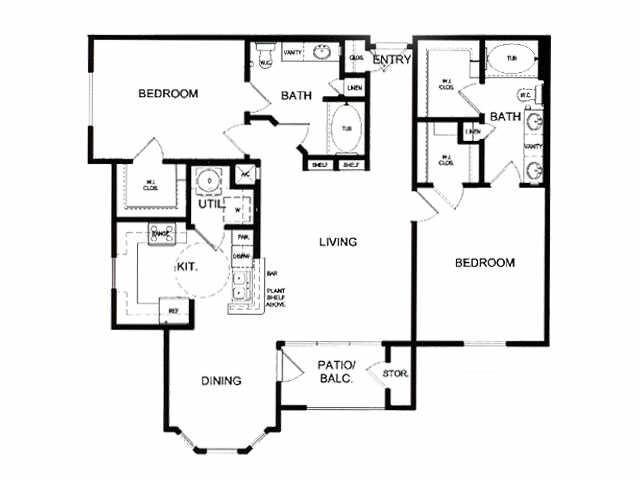 1,245 sq. ft. F floor plan