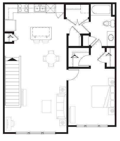 857 sq. ft. Overlook floor plan