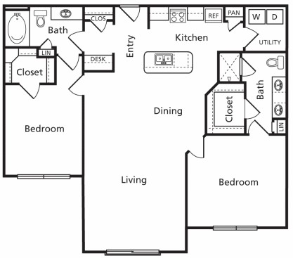 1,262 sq. ft. Da floor plan