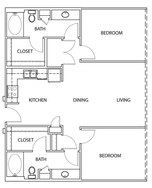 1,051 sq. ft. B1 floor plan