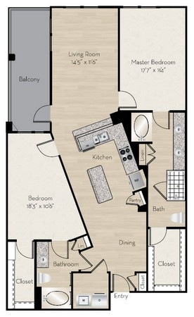 1,444 sq. ft. B6 floor plan