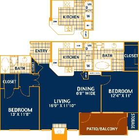 1,031 sq. ft. HICKORY/B2 floor plan