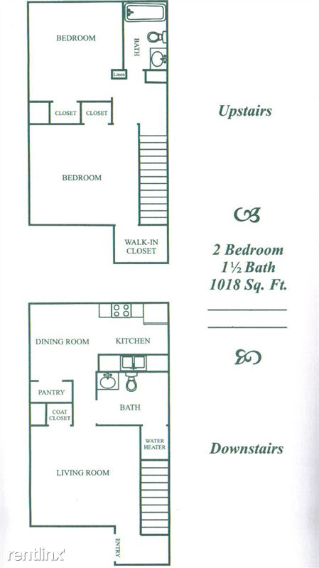 1,018 sq. ft. B floor plan