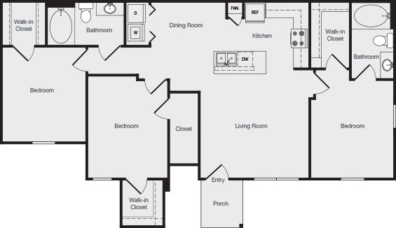 1,240 sq. ft. C1 floor plan