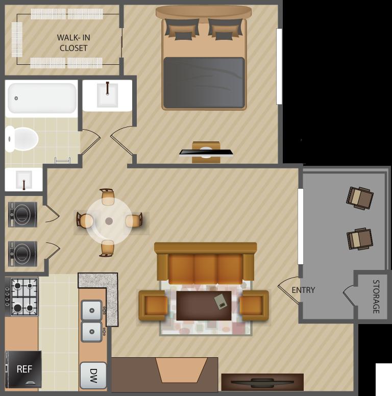 656 sq. ft. Brook-A4 floor plan