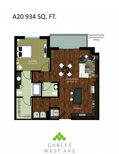 934 sq. ft. DA20 floor plan
