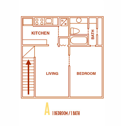 500 sq. ft. AU floor plan