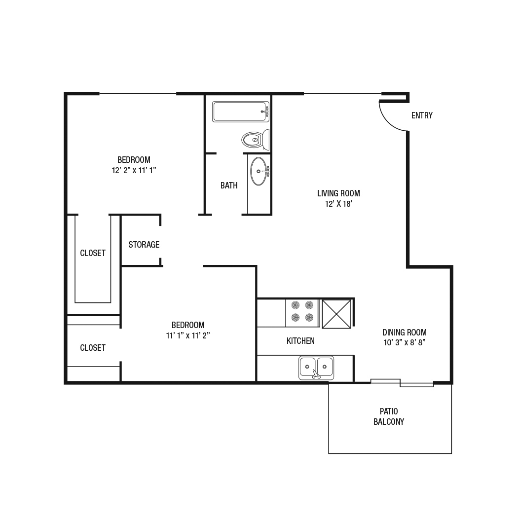 903 sq. ft. floor plan